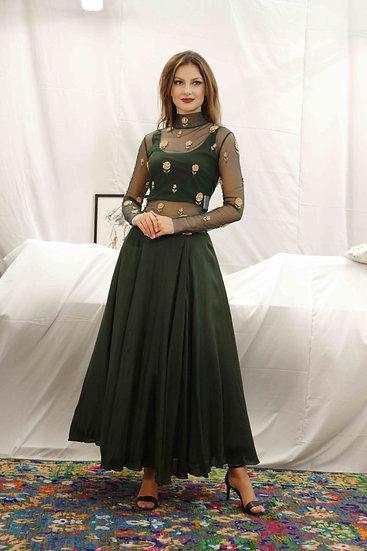 Bottle Green Skirt with Marigold High neck skin top