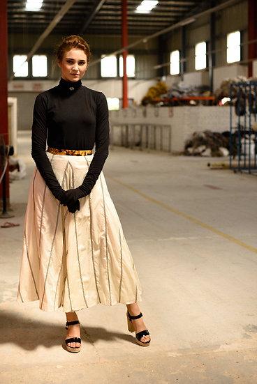"Black stripes ""Peace Silk"" Scarf skirt"