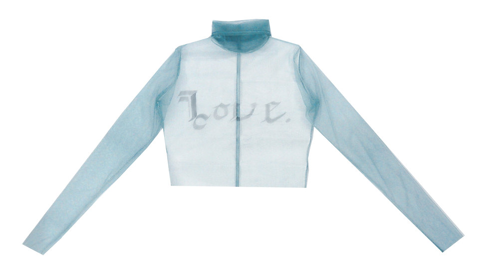 Hand Calligraphed 'Love' Sheer High Neck Top