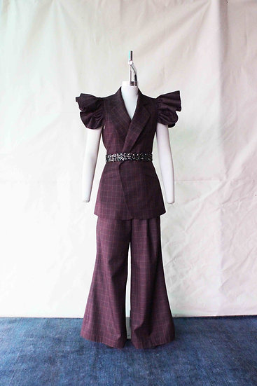 The Wine Check Wings Pant Suit