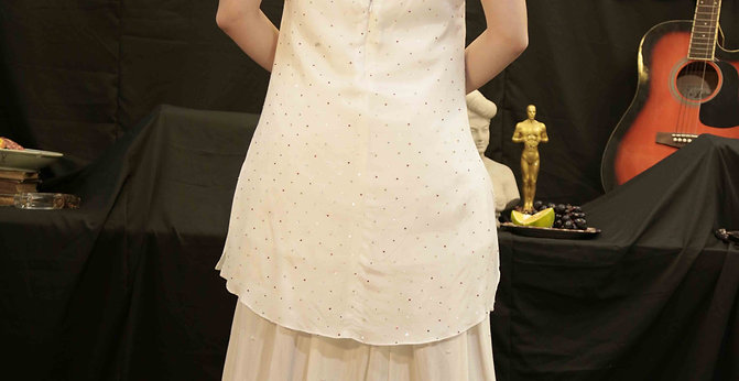 White Multicolour Sequins dress with Pearl skirt