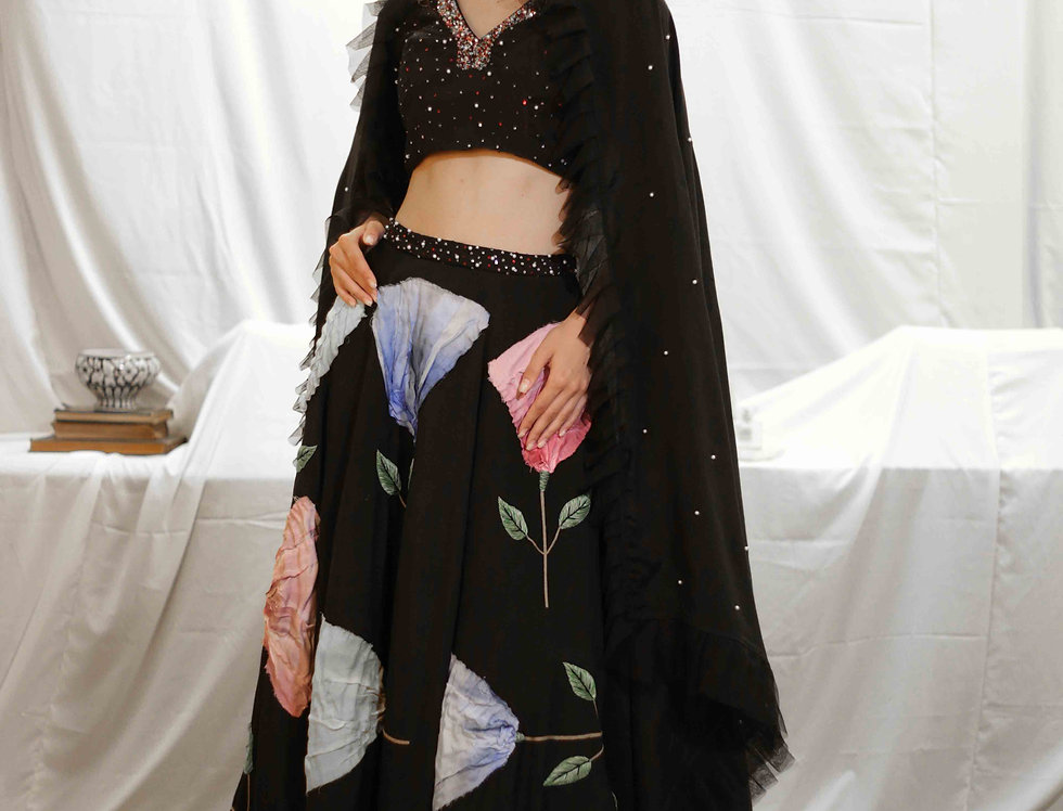 Black Falling Flower Skirt with Embroidered Top & Dupatta