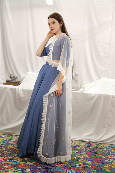 White Pink Marigold long Cape with Royal blue V neck blouse & Skirt