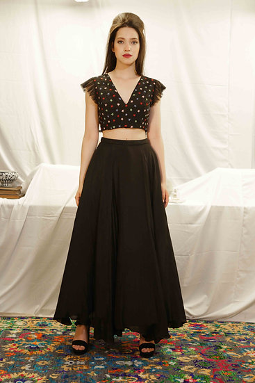 Plain Black Skirt with Star Hand Embroidered Top