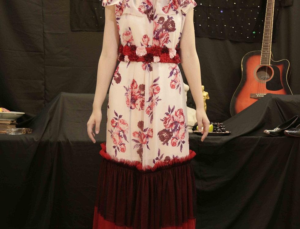 Pink Rose Red Frill Fru Fru Dress