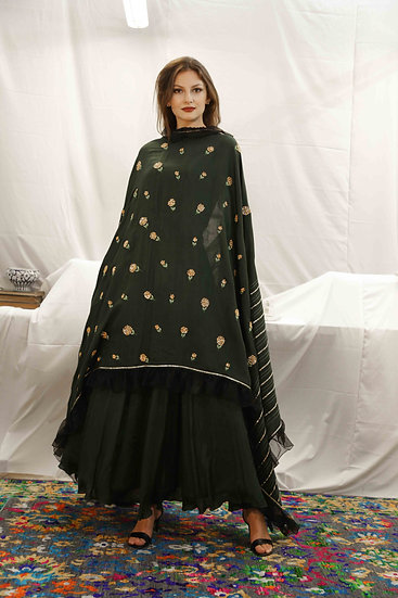 Bottle Green Skirt with Bottle Green Marigold Dupatta