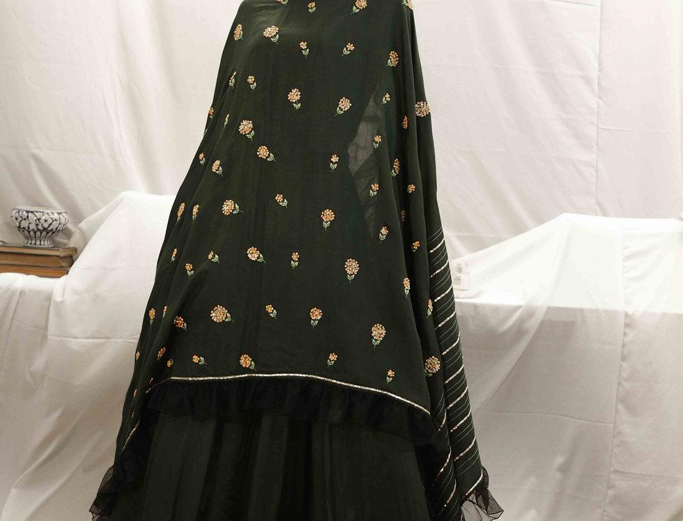 Bottle Green Skirt with Bottle Green Marigold Dupatta