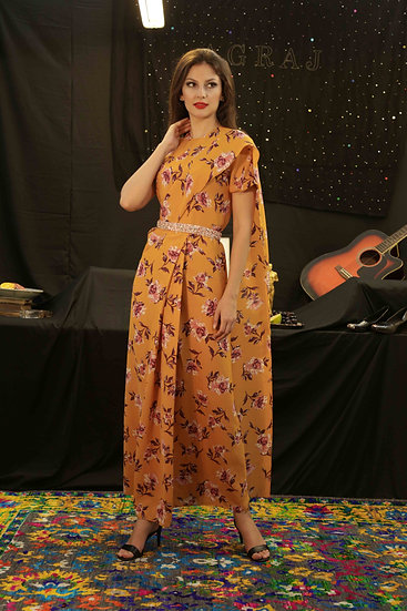 Mustard Saree Gown with Pink Sequins belt