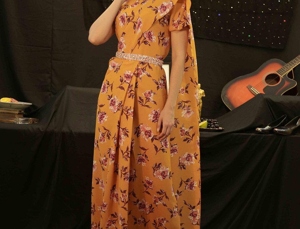 Mustard Saree Gown with Pink Sequins belt