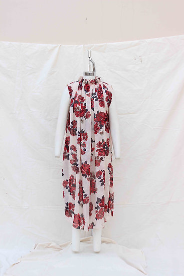 Red China Rose Beige Print Georgette Dress