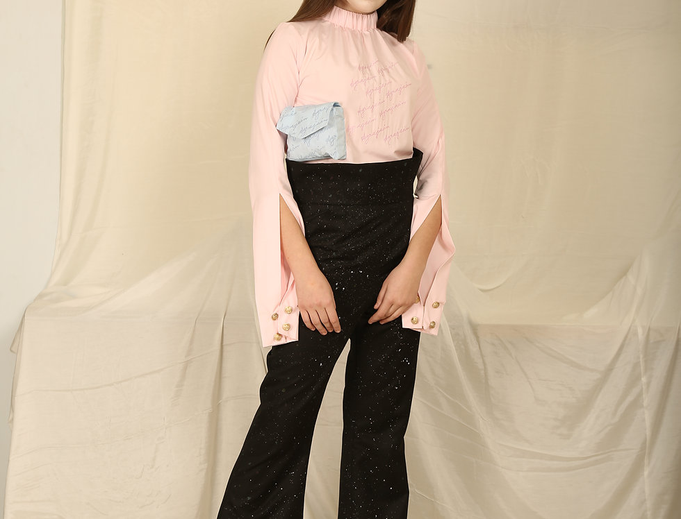 Hand Painted Corset Black Bell Bottoms