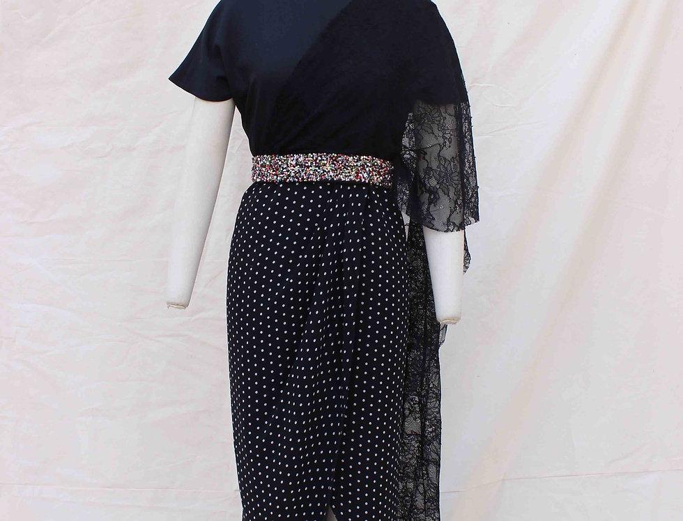 White Polka dots trapeze drape dress