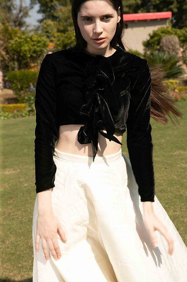 Black Bow Velvet crop top