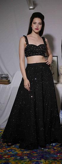 Black Firework Skirt + Bra-let + Black Dupatta