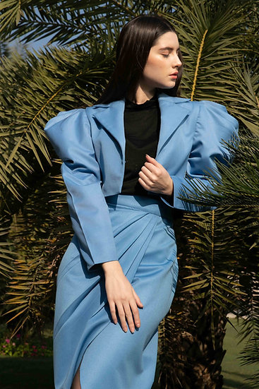 Sky Blue Mini Tux with Wrap Skirt