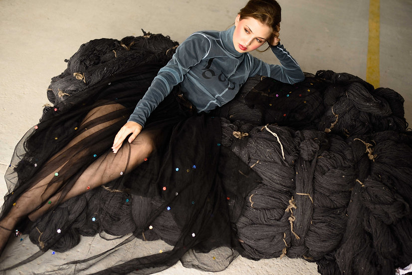 'Recycled plastic star' embroidered black tulle skirt