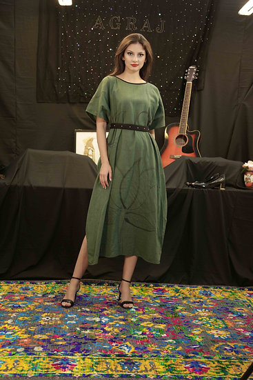 Green Khadi Lotus Dress with Black Pearl belt