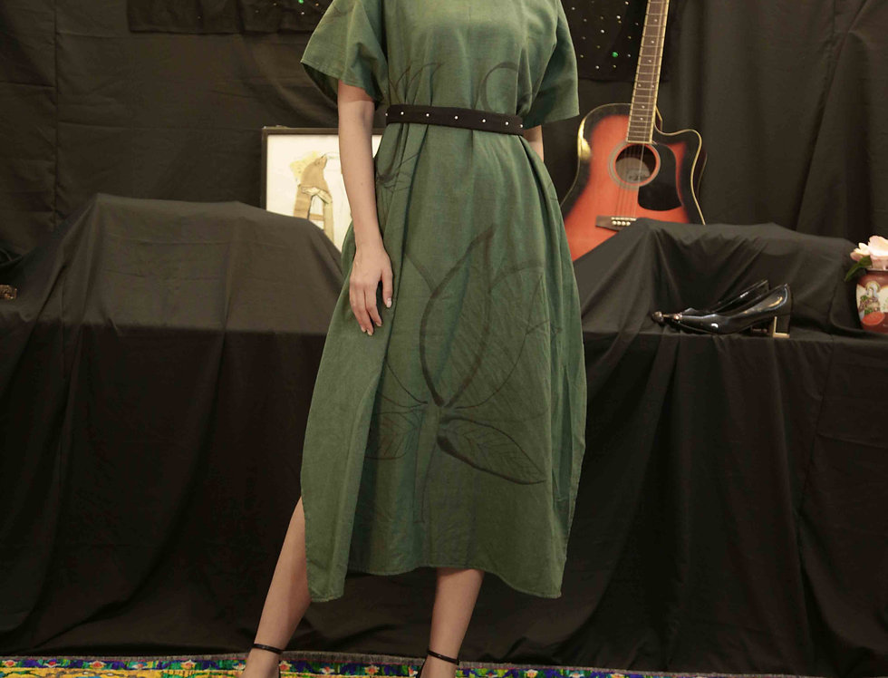 Green Khadi Lotus Dress with Black Pearl belt