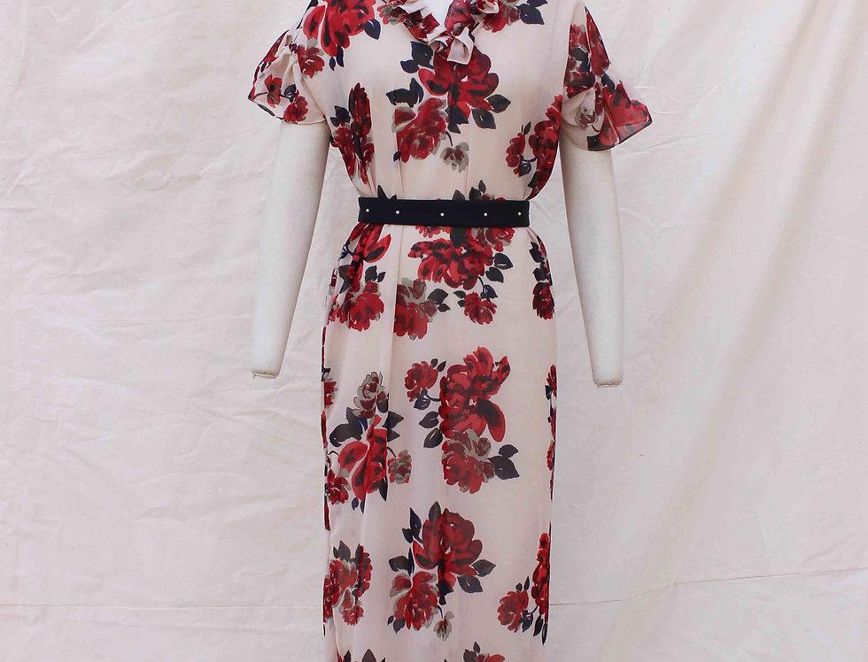 Red Rose Front 'V' neck georgette dress