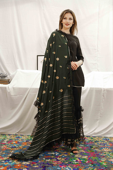 Black Sharara with Bottle Green Marigold Dupatta