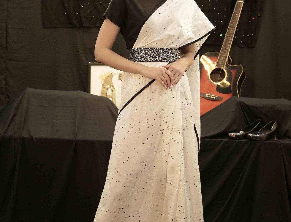 Black & White Saree Gown with Black Sequins Belt