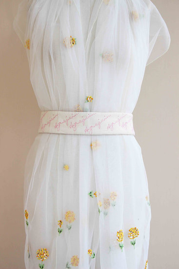 IVORY PEACE SILK PINK TEXT 'AGRAJAIN' BELT