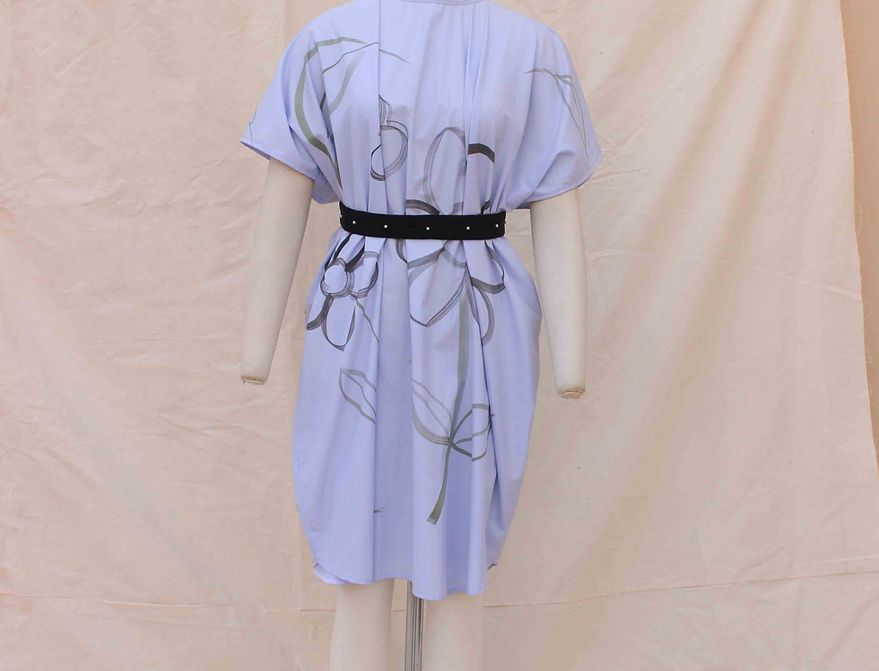 Ink Blue Hand Painted Garden Drawing, pure cotton Shift dress.