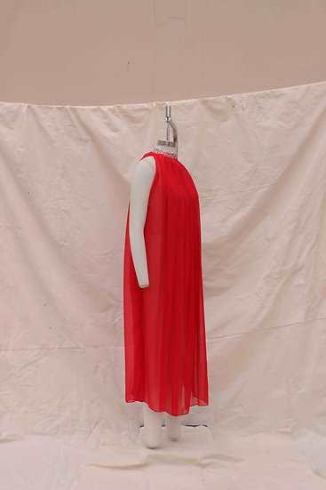 Red Crust collar Trapeze dress