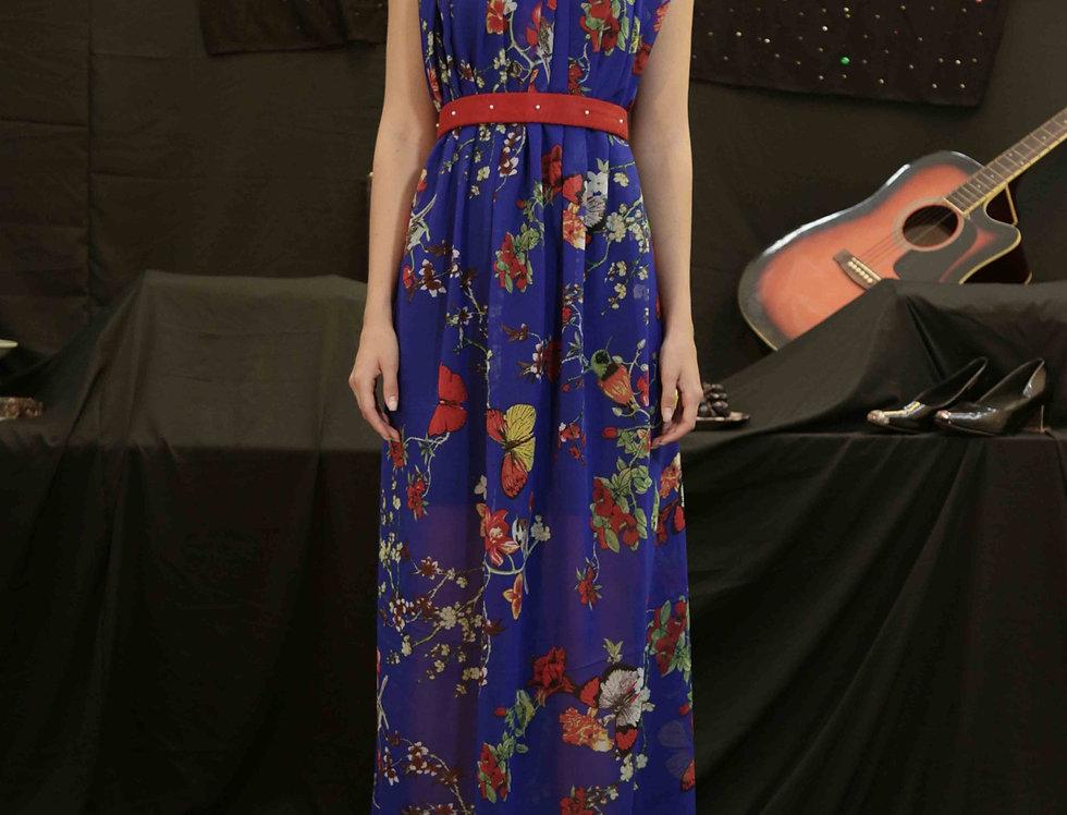 Blue Butterfly Georgette Dress with belt