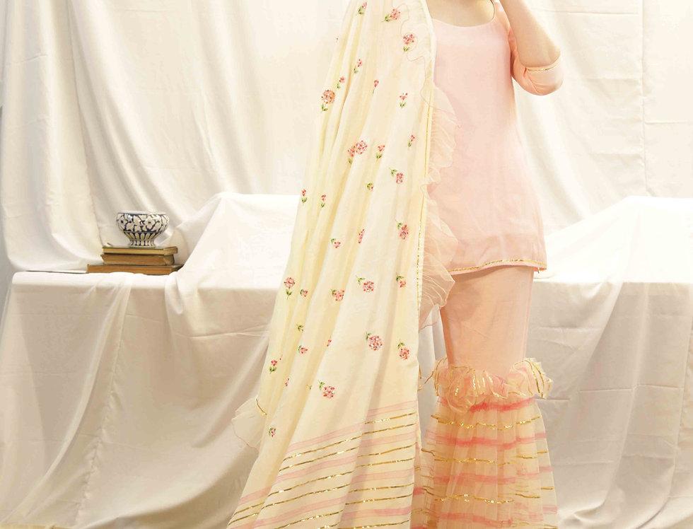 Candy Pink Sharara with Marigold Dupatta