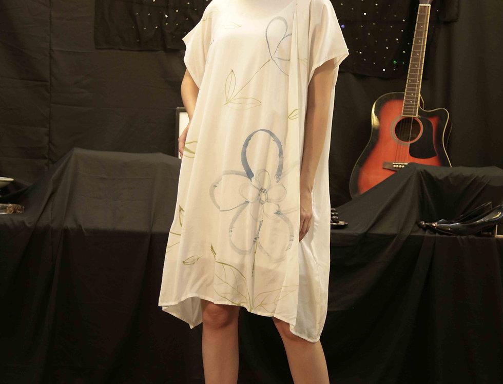 White Blue Flower Dress