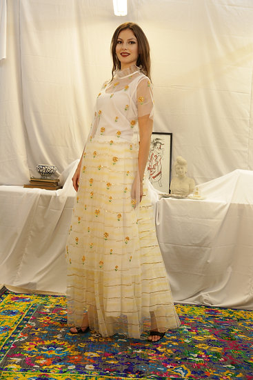 White Yellow Marigold Sheer Kurti with Yellow Hand Painted tulle Skirt