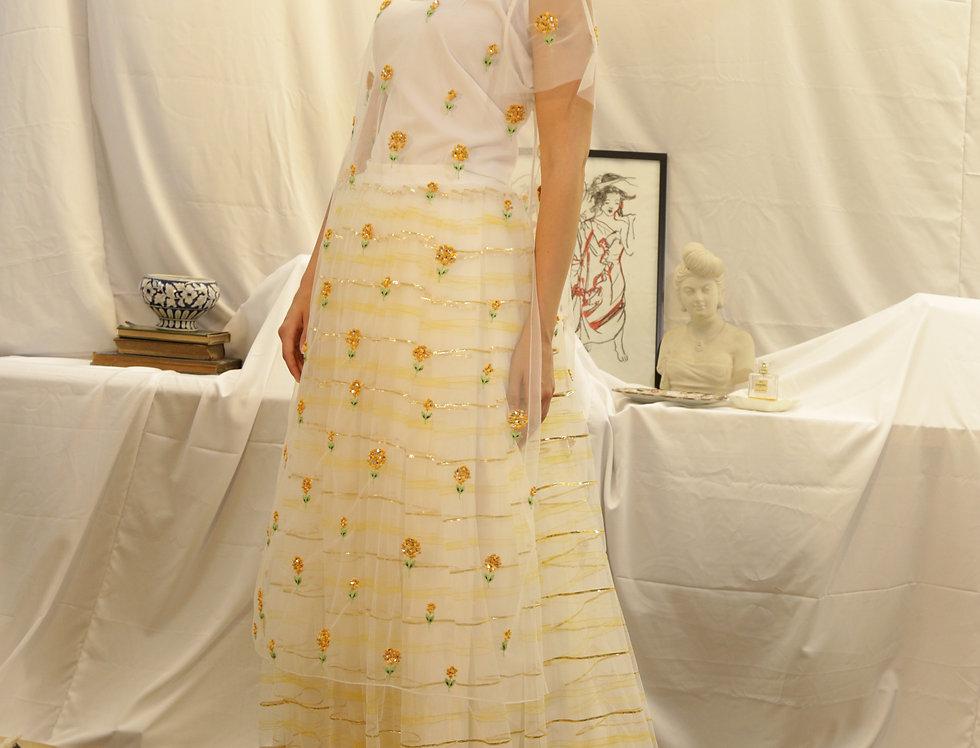 White Yellow Marigold Sheer Kurti with Yellow Hand Painted tulle Skirt