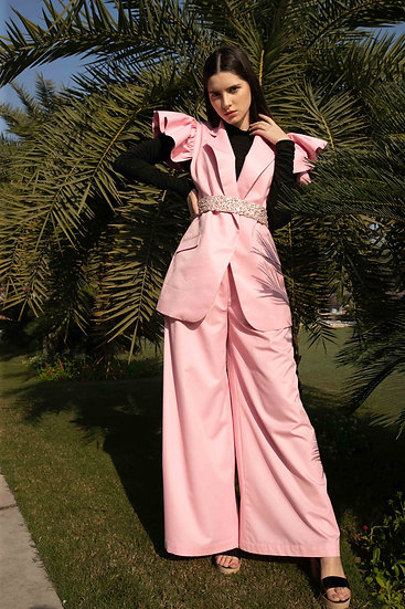 Pink Wings Sleeveless Jacket & Trousers