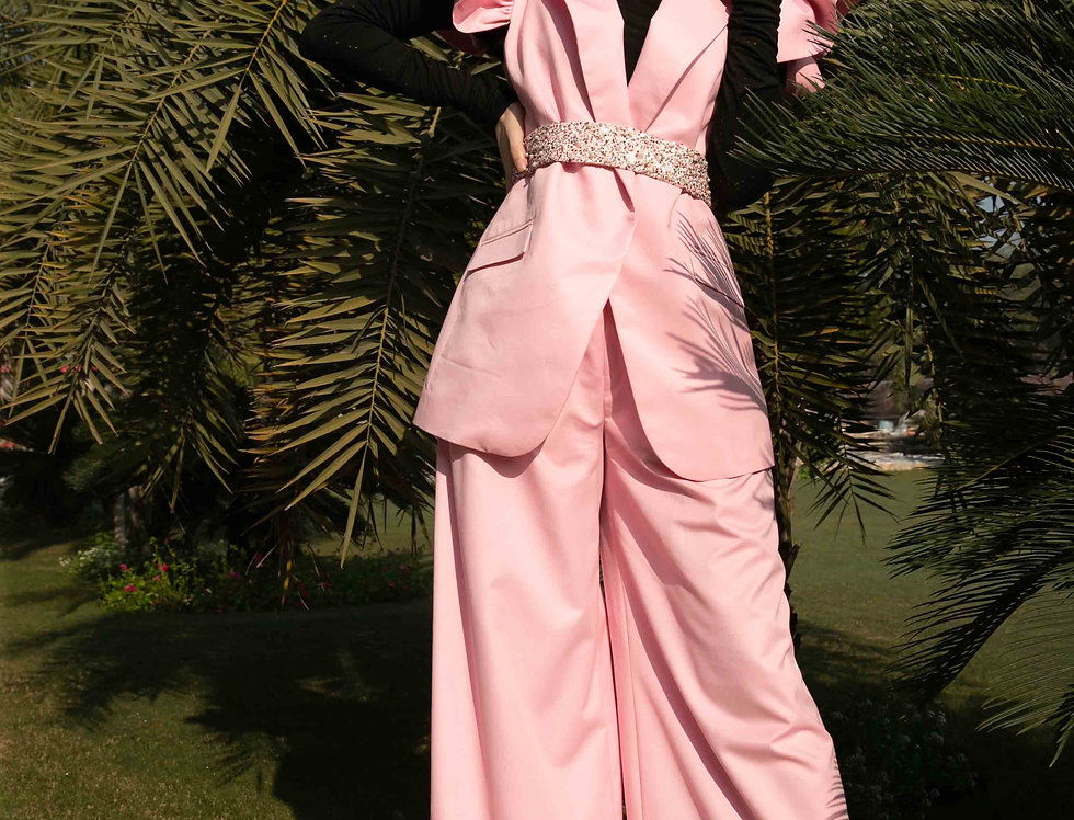 Pink Wings Sleeveless Jacket & Trousers