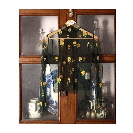 Marigold embroidered sheer top with Bottle Green Blouse & Skirt