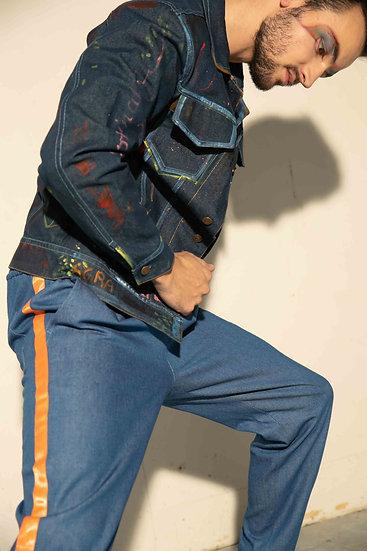 Blue Denim Hand Painted Sports Jacket