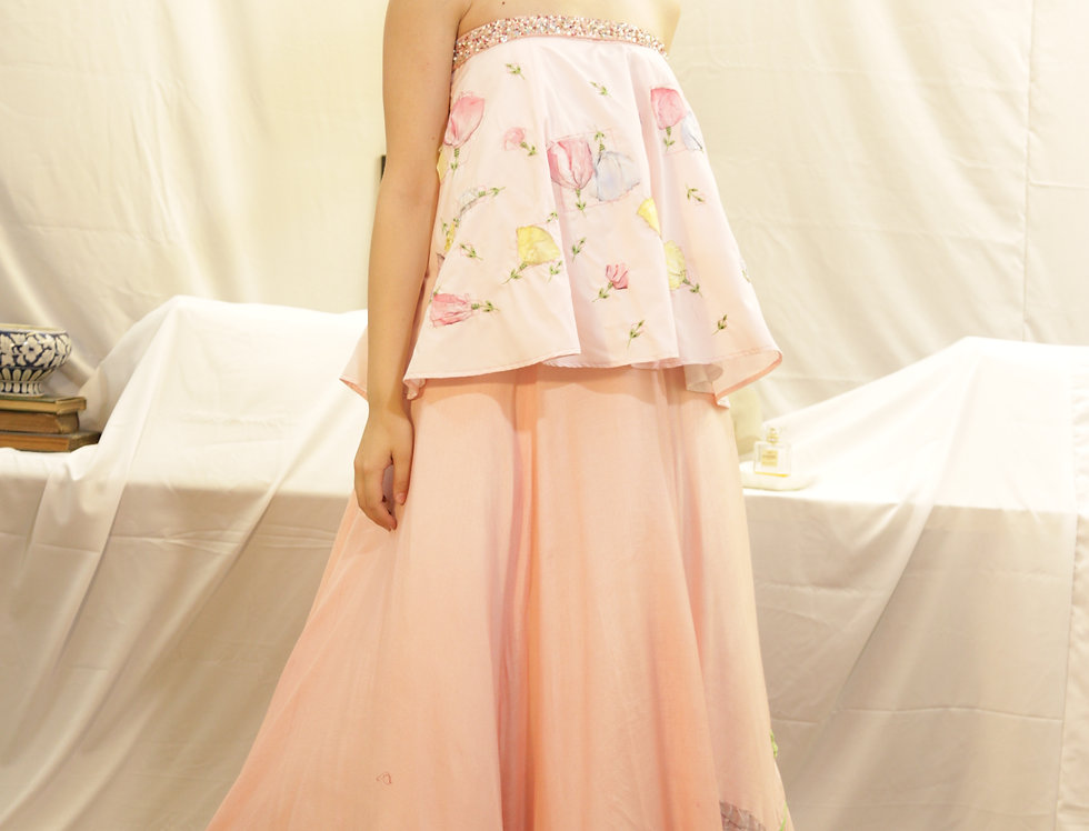 Candy Pink Off-shoulder top with Candy Pink Skirt