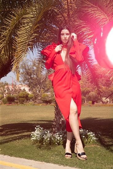 Red Butterfly Georgette Dress