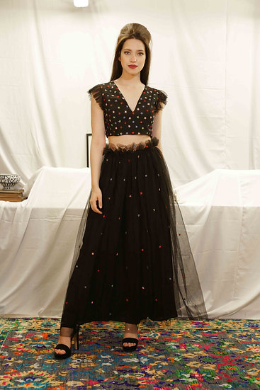 Black Star Skirt with Star Embroidered Top