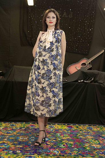 Blue Rose Front 'V' neck dress with belt