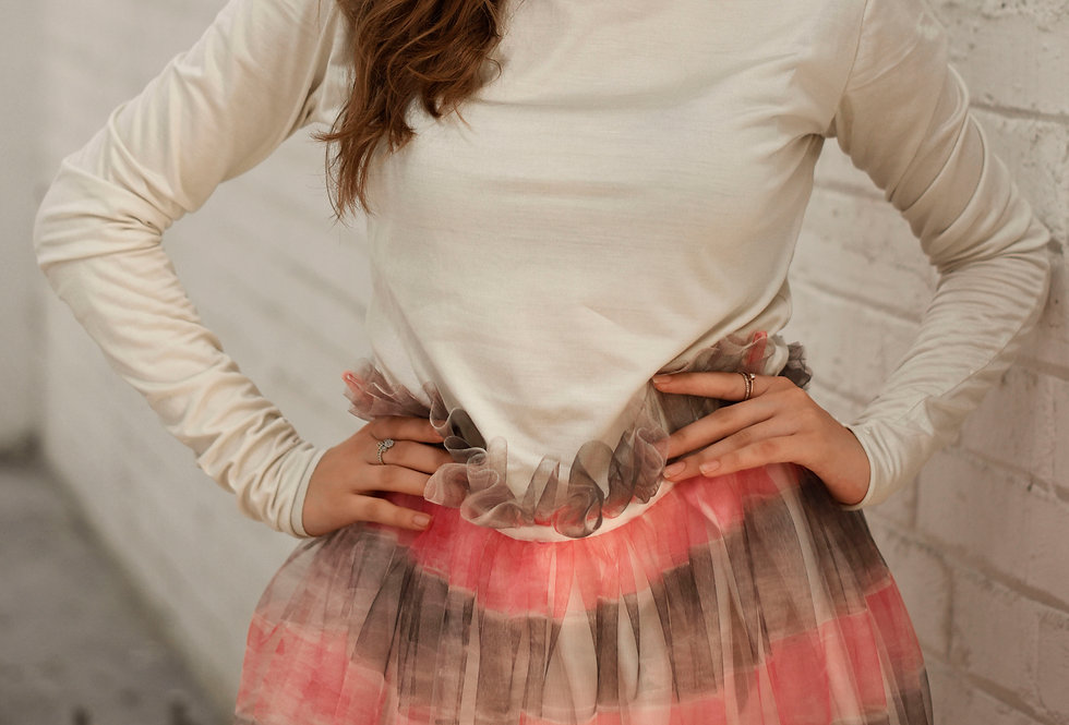 'Red rainbow' 'Hand-painted' tulle skirt