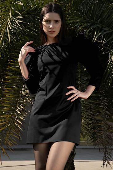 Black Crystal Sleeves Dress