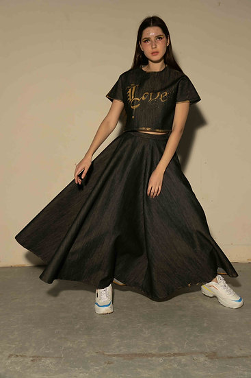 Black Denim Flared Skirt