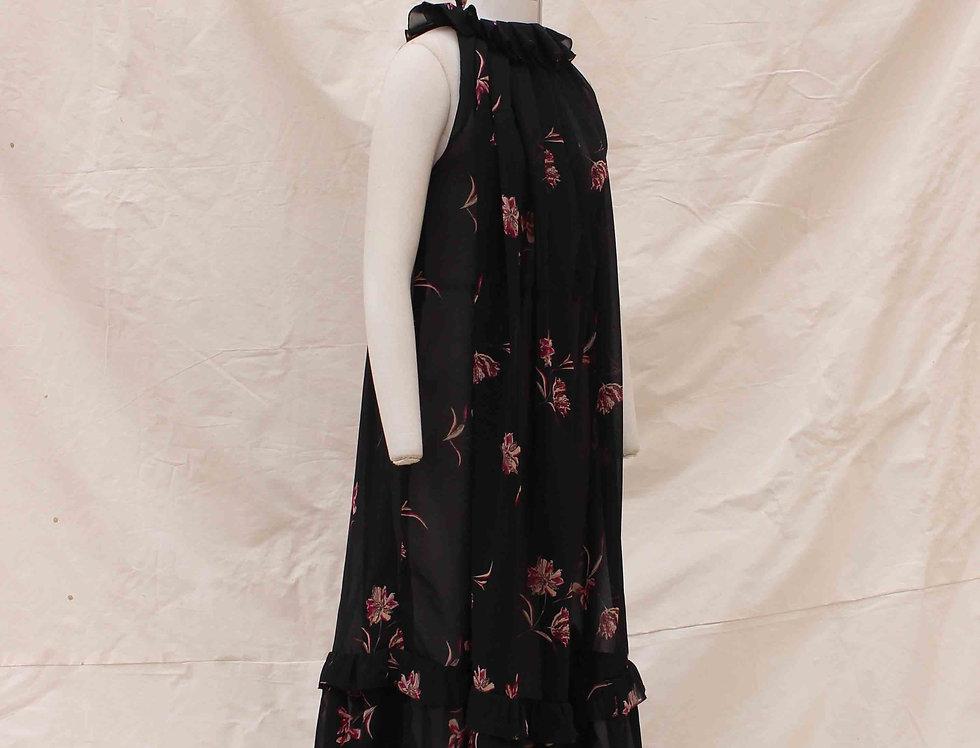 Tulips Black Tent dress