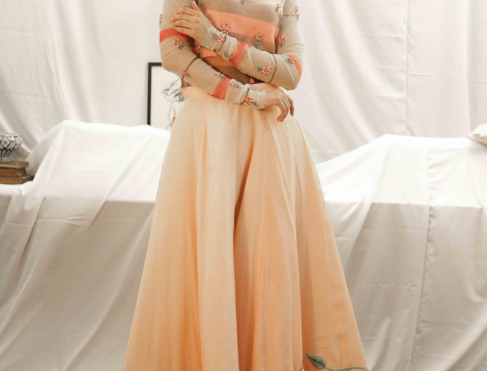 Peach Skirt with Pink Marigold Hand-painted High neck skin top