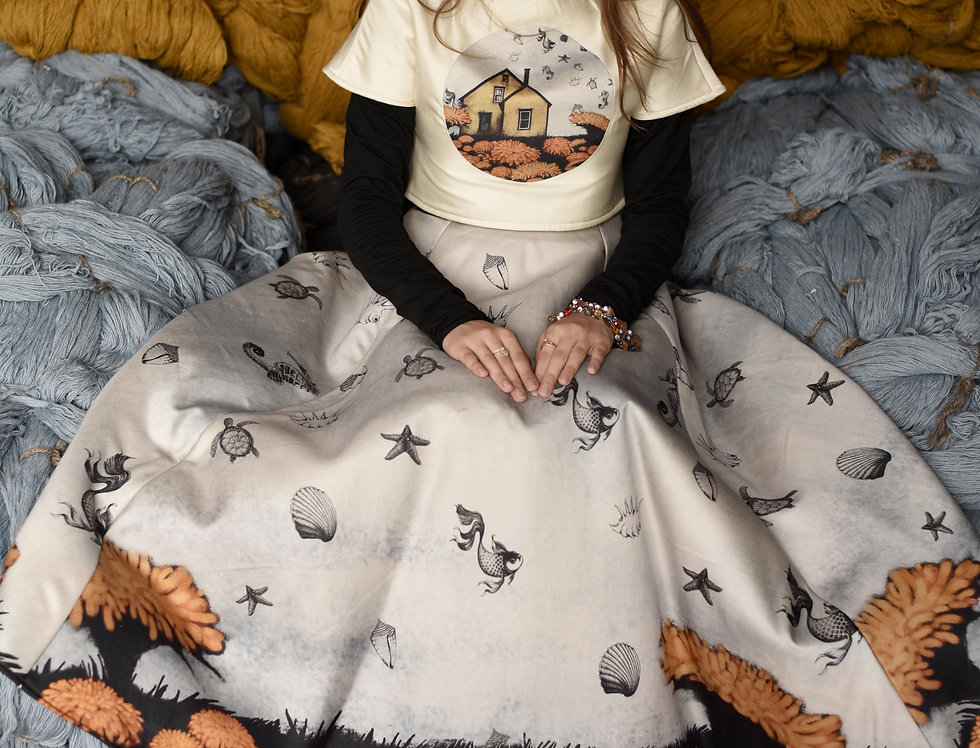 """'The Enchanted House' print """"Peace Silk"""" couture skirt"""