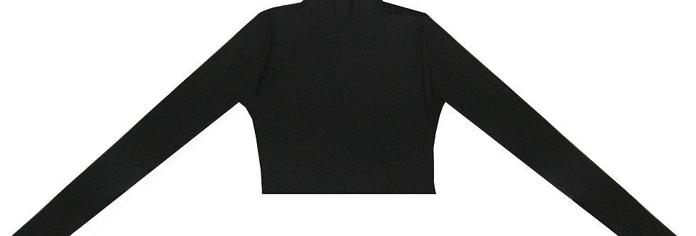 """Peace Silk"" Black jersey High Neck Top"