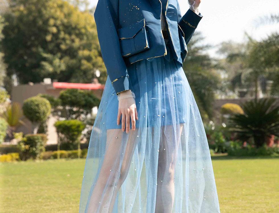 Sky Blue Pearl Tulle Skirt
