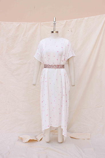 Pink Polka Hand Painted Long Bamboo silk
